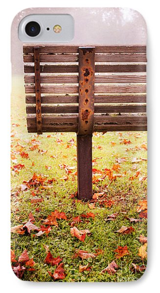 Park Bench In Autumn Phone Case by Edward Fielding