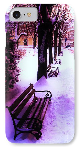 Park Benches In Snow IPhone Case by Nina Ficur Feenan