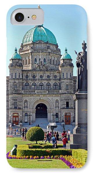 Parliament Building Dome. Victoria British Columbia IPhone Case by Connie Fox