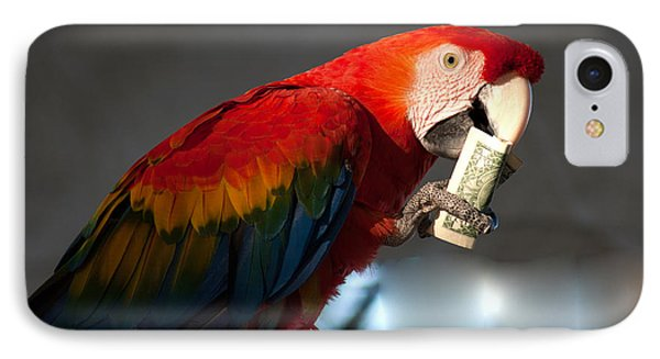 IPhone Case featuring the photograph Parrot Eating 1 Dollar Bank Note by Gunter Nezhoda