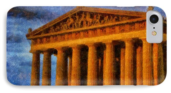 Parthenon On A Stormy Day IPhone Case by Dan Sproul