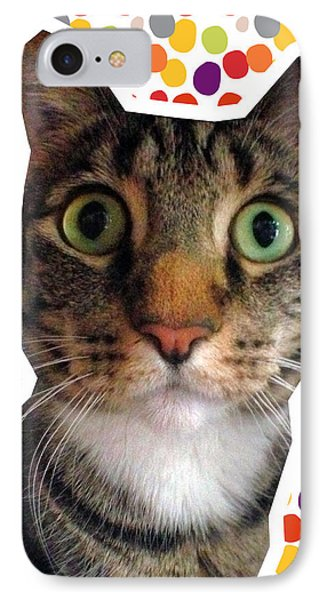 Party Animal- Cat With Confetti IPhone Case by Linda Woods