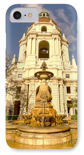 Pasadena City Hall's Dome And Courtyard Fountain 01 IPhone Case by MaryJane Armstrong