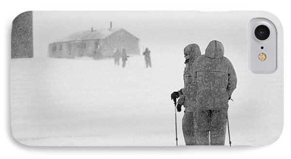 Passengers From Expedition Ship On Shore Excursion To Whaler's Bay Antarctica IPhone Case by Joe Fox