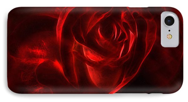 Passion Rose Bathed In Red - Abstract Realism IPhone Case by Georgiana Romanovna