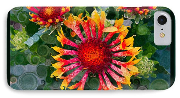 Passionate Pinwheels And Blooming Abstract Flower Art Phone Case by Omaste Witkowski