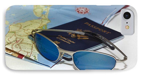 Passport Sunglasses And Map Phone Case by Amy Cicconi