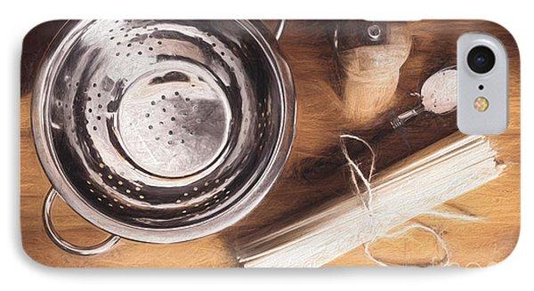 Pasta Preparation. Vintage Photo Sketch IPhone Case