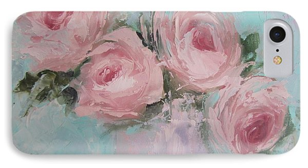 Pastel Pink Roses Painting IPhone Case by Chris Hobel