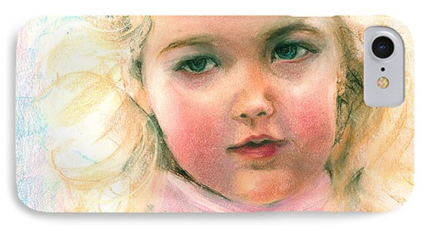 IPhone Case featuring the painting Pastel Portrait Of An Angelic Girl by Greta Corens