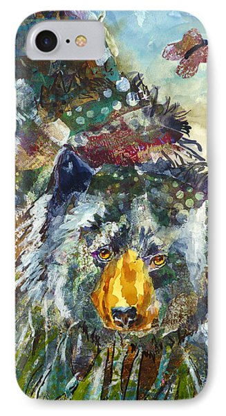 IPhone Case featuring the mixed media Patchwork Bear by P Maure Bausch