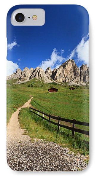 IPhone Case featuring the photograph path in Gardena pass by Antonio Scarpi