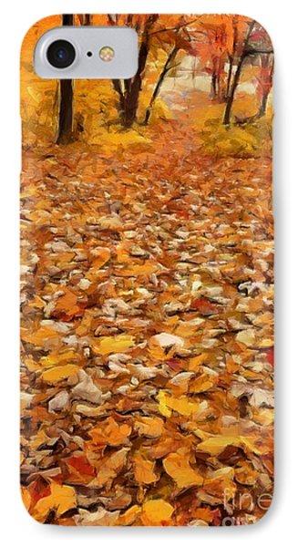 Path Of Fallen Leaves IPhone Case by Edward Fielding