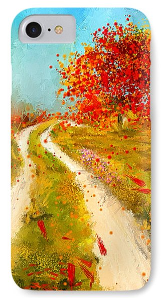 Path To Change- Autumn Impressionist Painting IPhone Case by Lourry Legarde