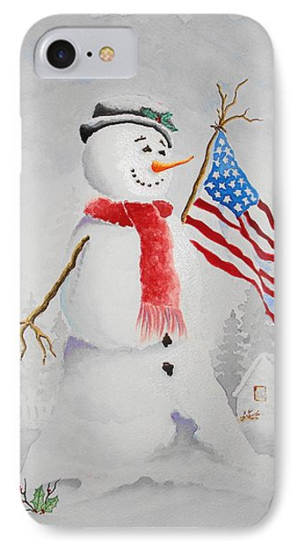 Patriotic Snowman IPhone Case by Jimmy Smith