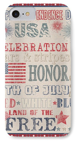 Patriotic Typography-b Phone Case by Jean Plout