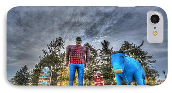 Paul Bunyan And Babe The Blue Ox In Bemidji IPhone Case by Shawn Everhart