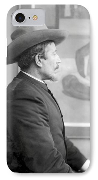 Paul Gauguin 1848-1903 In Front Of His Canvases, C.1893 Bw Photo IPhone Case