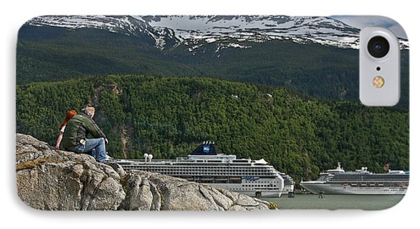Pause In Wonder At Cruise Ships In Alaska Phone Case by John Haldane