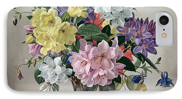 Rhododendrons, Azaleas And Columbine In A Glass Vase IPhone Case