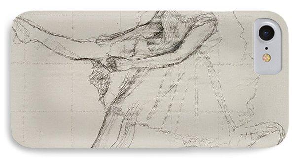 Dancer Adjusting Her Tights IPhone Case by Edgar Degas