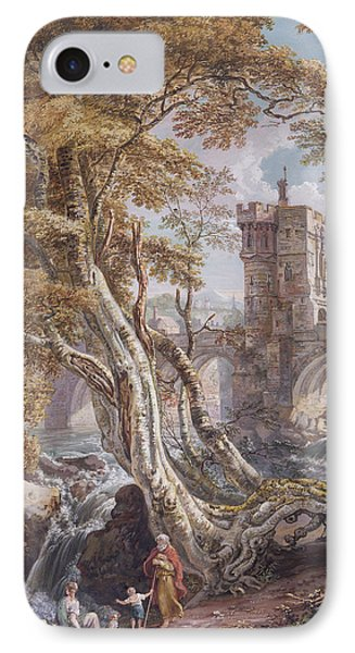 View Of The Old Welsh Bridge IPhone Case by Paul Sandby