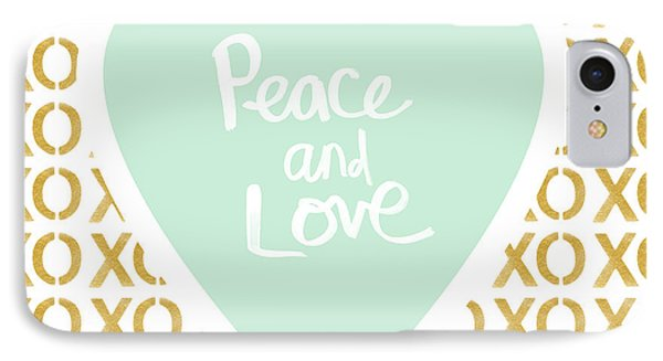 Peace And Love In Aqua And Gold IPhone Case
