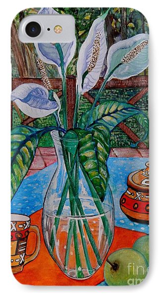 Peace Lilies On The Patio Phone Case by Caroline Street