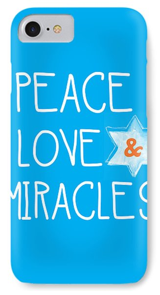 Peace Love And Miracles With Star Of David IPhone Case