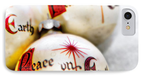 IPhone Case featuring the photograph Antique Peace On Earth Christmas Decorations by Vizual Studio