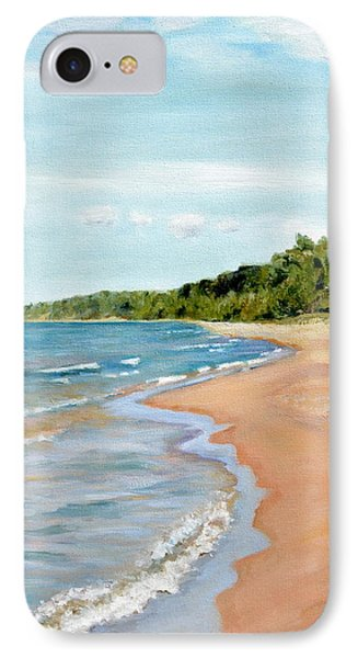 Peaceful Beach At Pier Cove IPhone Case by Michelle Calkins