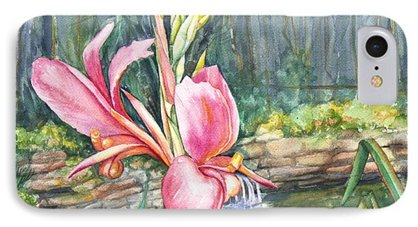 Peach Canna By The Pond Phone Case by Patricia Allingham Carlson