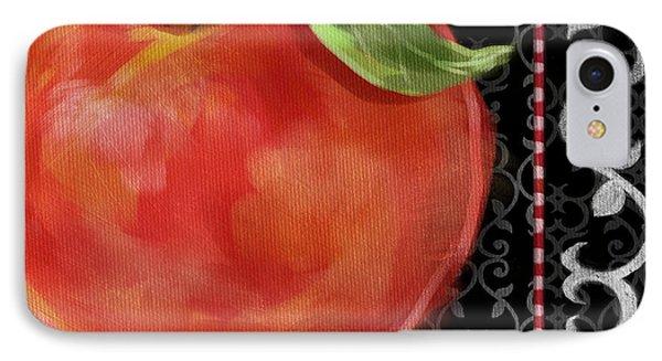 Peach On Black And White Phone Case by Shari Warren