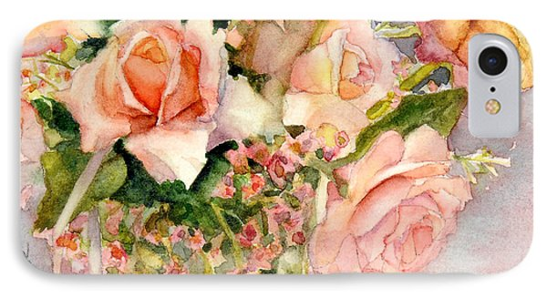 Peach Roses In Vase IPhone Case by Bonnie Rinier