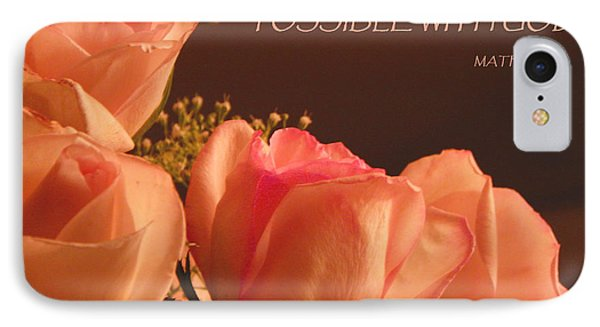 Peach Roses With Scripture IPhone Case by Sandi OReilly