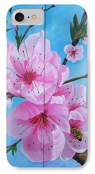 Peach Tree In Bloom Diptych IPhone Case by Sharon Duguay