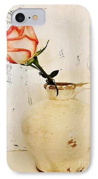 Peach Trim Rose In Pottery IPhone Case by Marsha Heiken