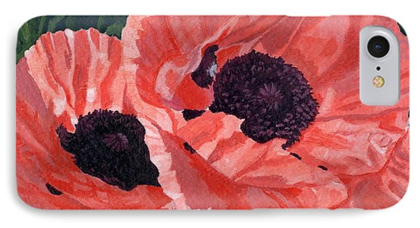 IPhone Case featuring the painting Peachy Poppies by Lynne Reichhart