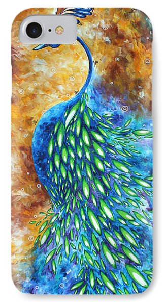 Peacock Abstract Bird Original Painting In Bloom By Madart Phone Case by Megan Duncanson