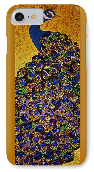 IPhone Case featuring the tapestry - textile Peacock Blue by Apanaki Temitayo M