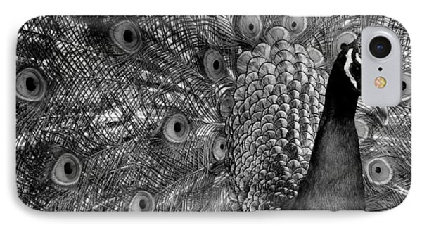 IPhone Case featuring the photograph Peacock Bw by Ron White