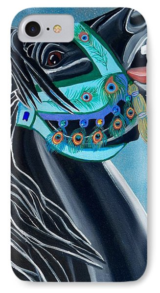 Peacock Carousel Horse IPhone Case by Debbie LaFrance