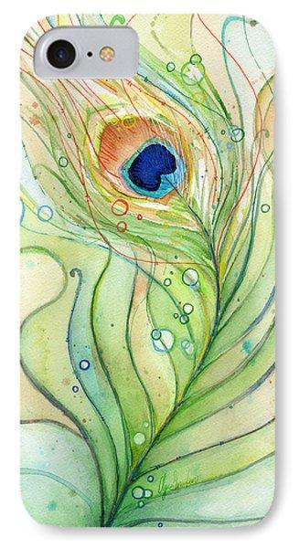 Peacock Feather Watercolor IPhone 7 Case by Olga Shvartsur