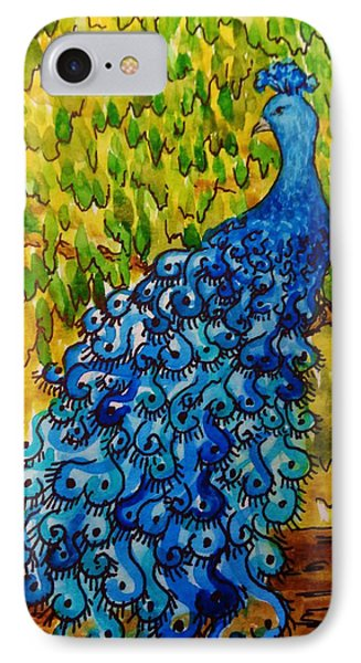 IPhone Case featuring the painting Peacock by Katherine Young-Beck