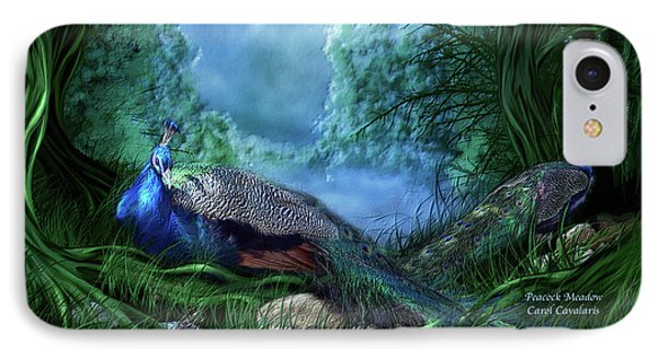 IPhone Case featuring the mixed media Peacock Meadow by Carol Cavalaris