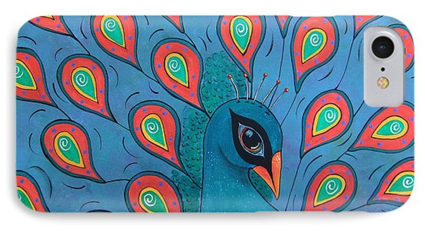 IPhone Case featuring the painting Peacock Promenade by Cindy Micklos