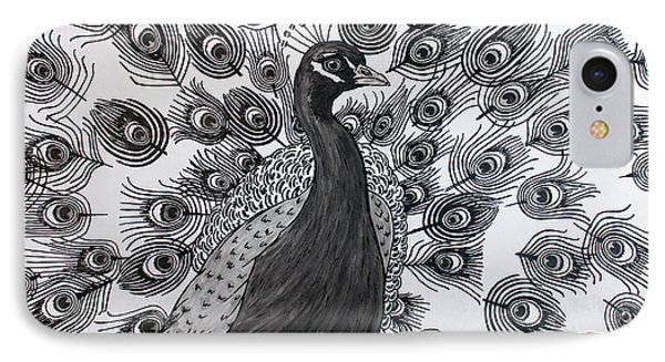 IPhone Case featuring the drawing Peacock Walk by Megan Dirsa-DuBois