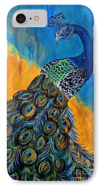 IPhone Case featuring the painting Peacock Waltz #3 by Ella Kaye Dickey