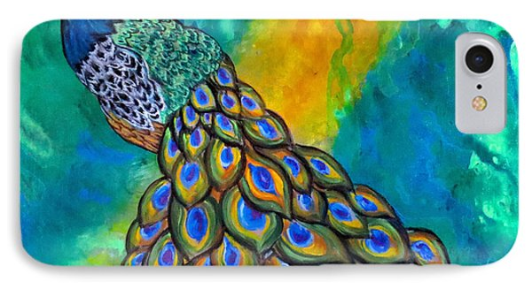 IPhone Case featuring the painting Peacock Waltz II by Ella Kaye Dickey