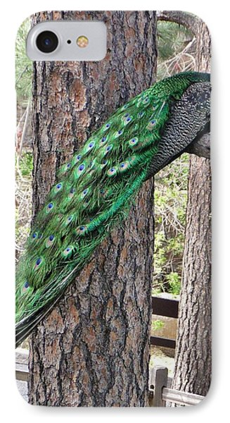 IPhone Case featuring the photograph Peacock Watches The World by Diane Alexander